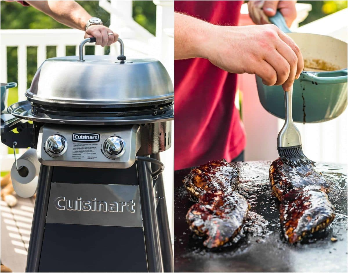 photo collage of outdoor griddle and chicken being basted