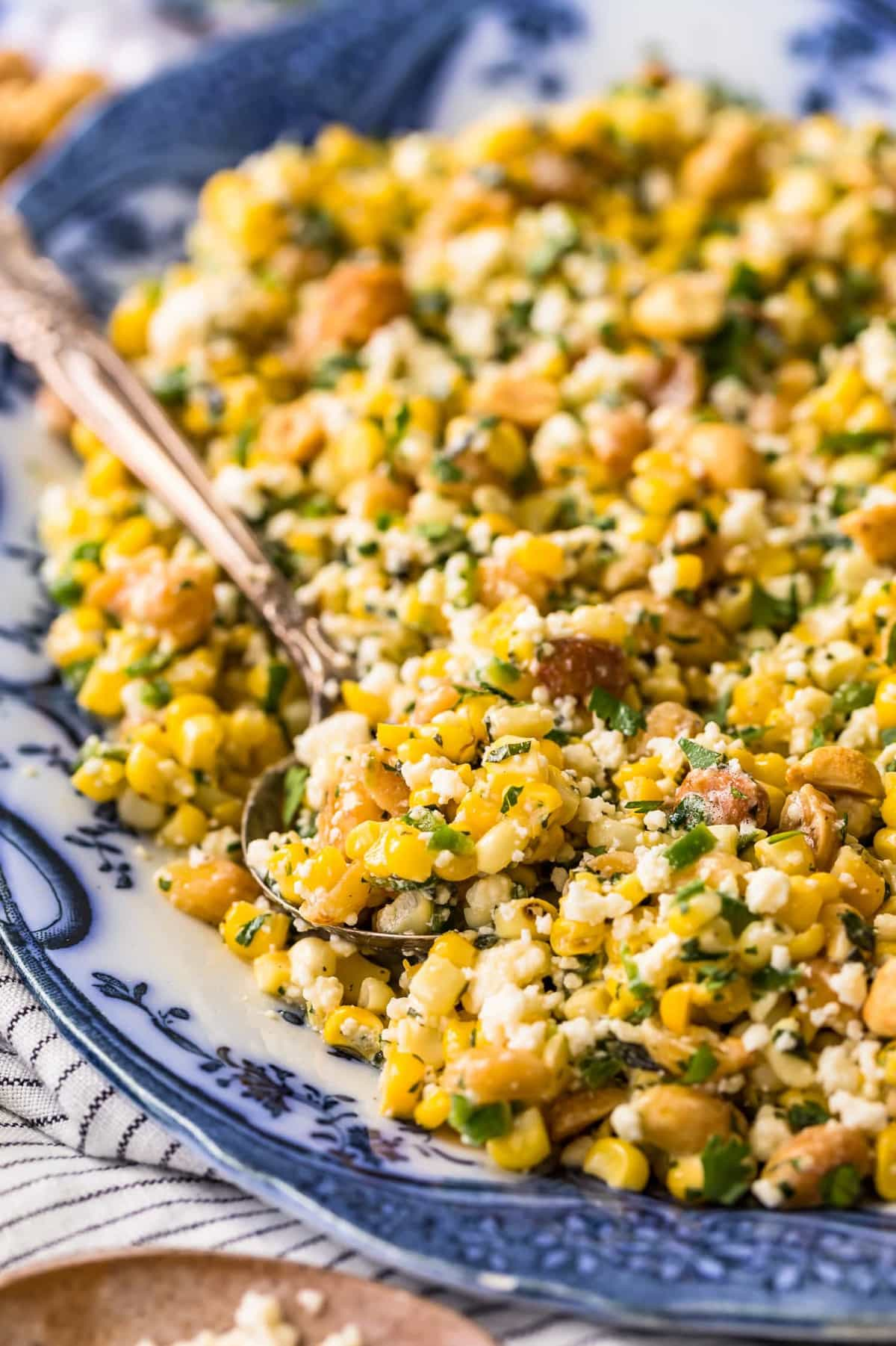 Close up of corn salad on a sppon