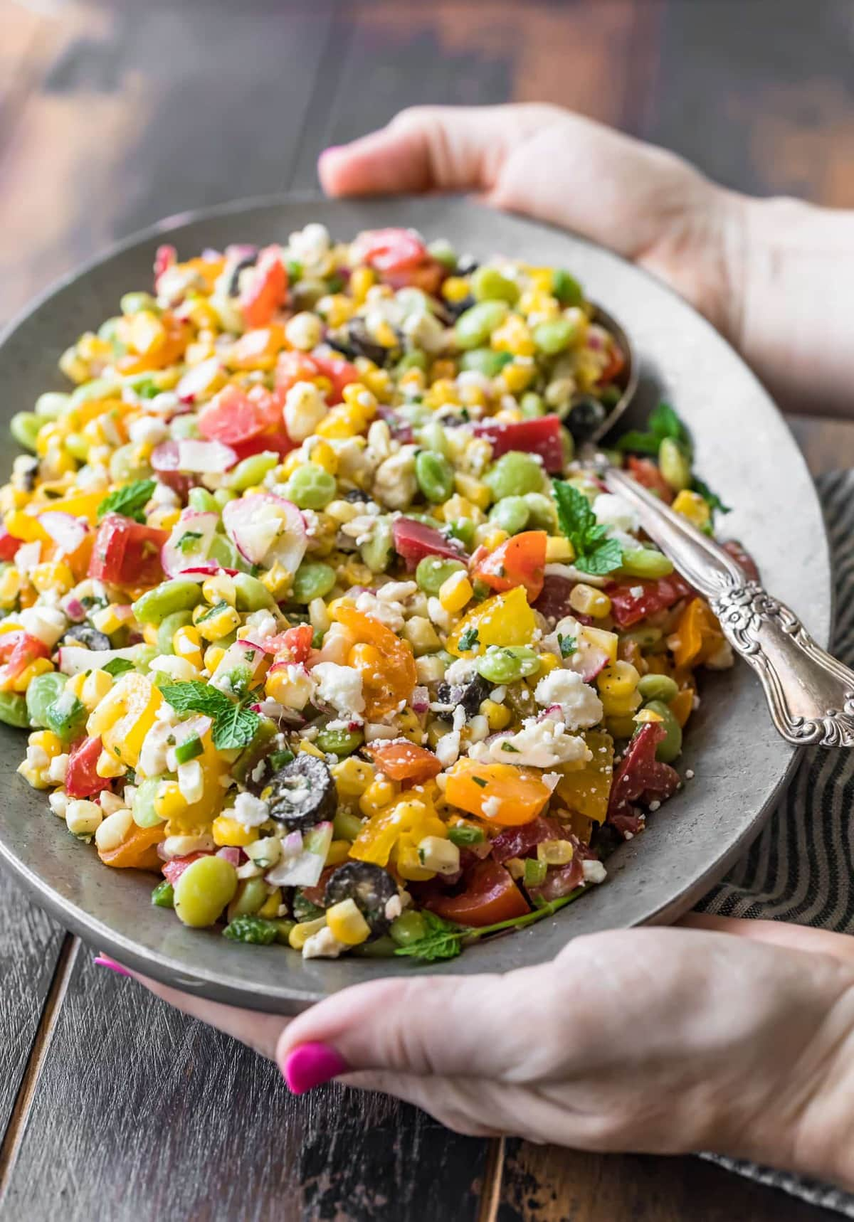 Hands holding a plate of Peruvian Chopped Salad