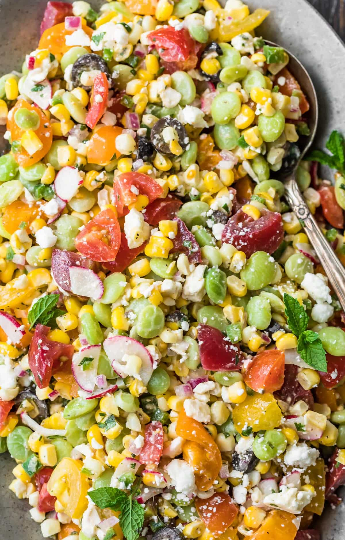 Close up of corn and bean salad
