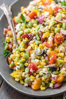 a bowl of peruvian chopped salad