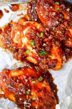 sweet and sour chicken breasts on a platter