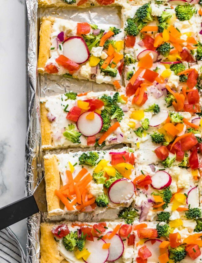 crescent roll veggie pizza on sheet pan