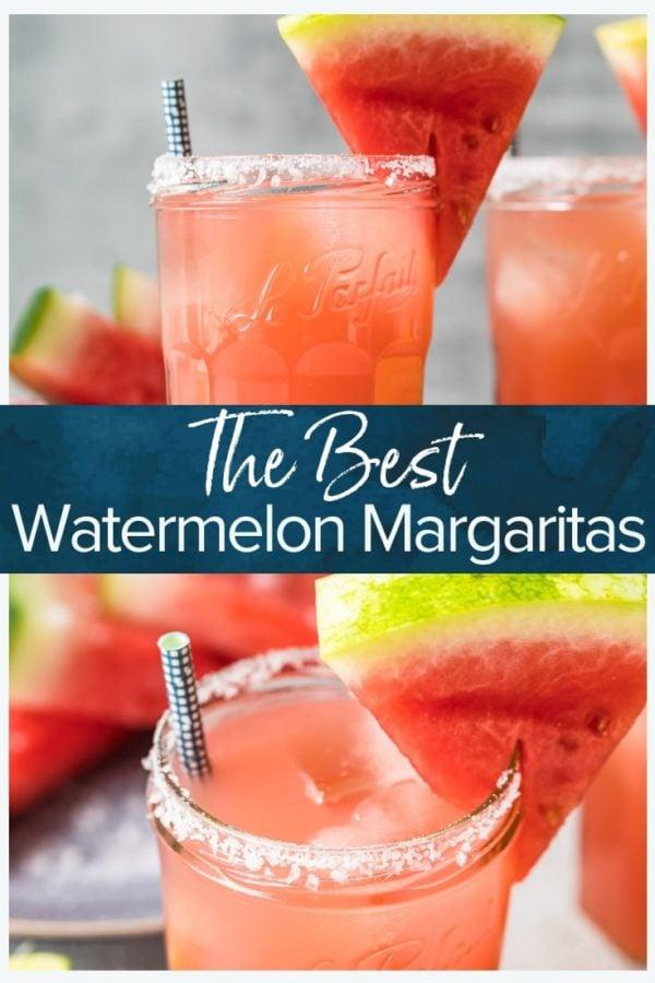 The Best Watermelon Margaritas- Pinterest collage