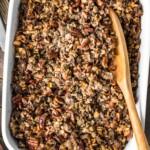 wild rice stuffing in baking dish