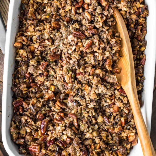 wild rice stuffing in baking dish