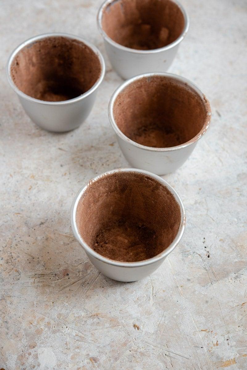 Prepared ramekins for making chocolate lava cakes