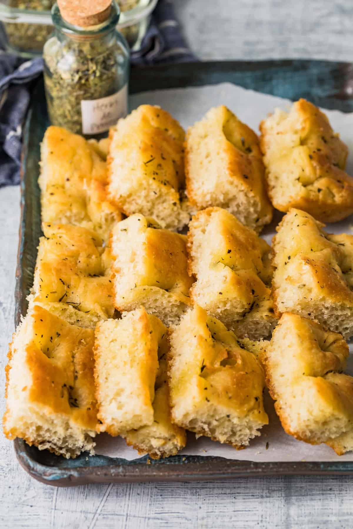 Focaccia bread on a serving tray