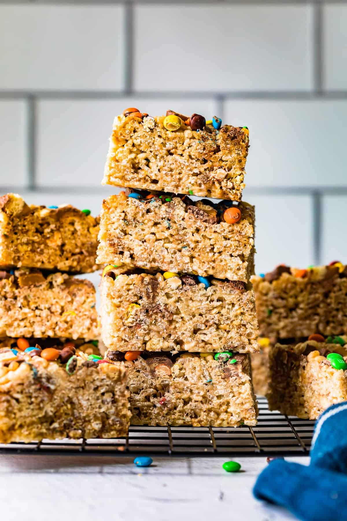 rice crispy squares stacked on top of eachother