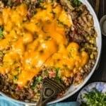 cheesy beef breakfast scramble in a pan
