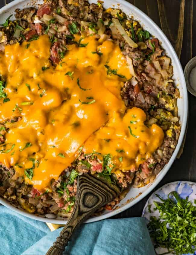 cheesy beef breakfast scramble in a pan