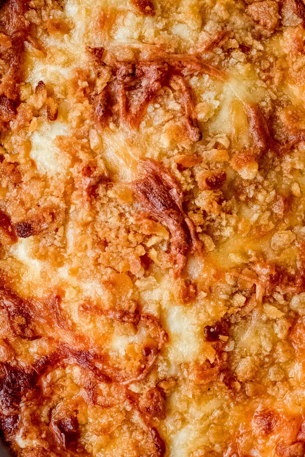 close up on crispy casserole topping