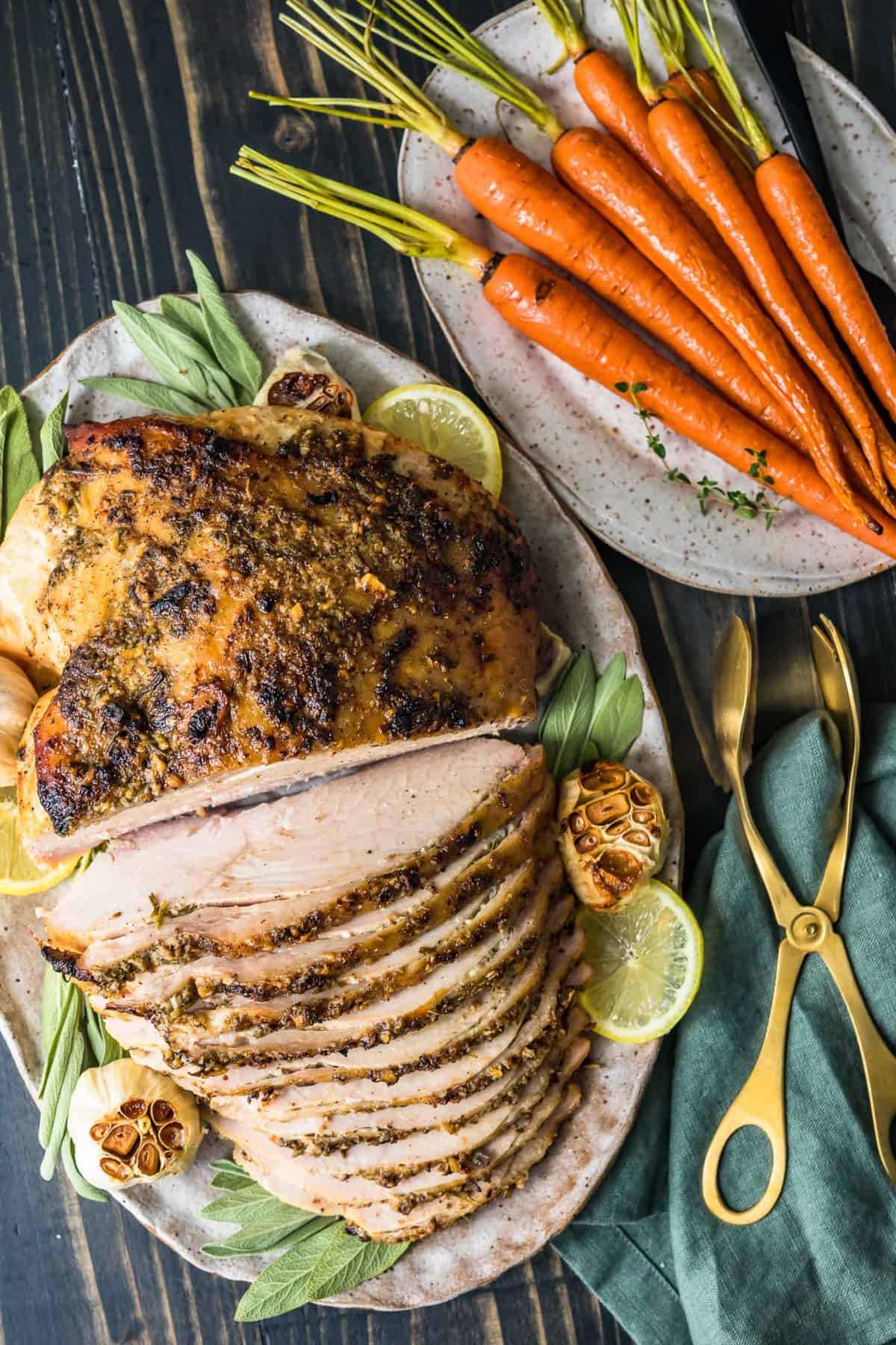 Turkey breast served with roasted carrots