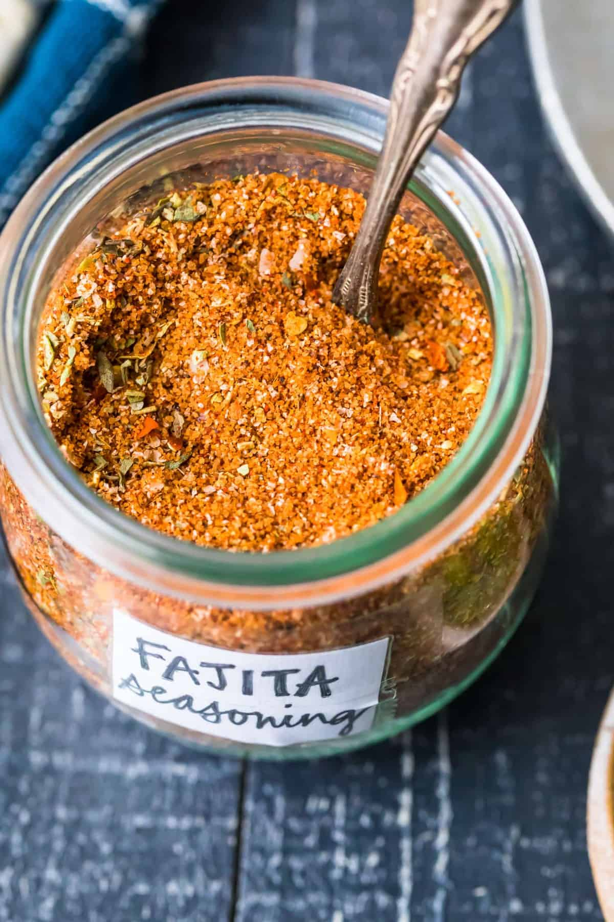 homemade fajita seasoning in a glass jar