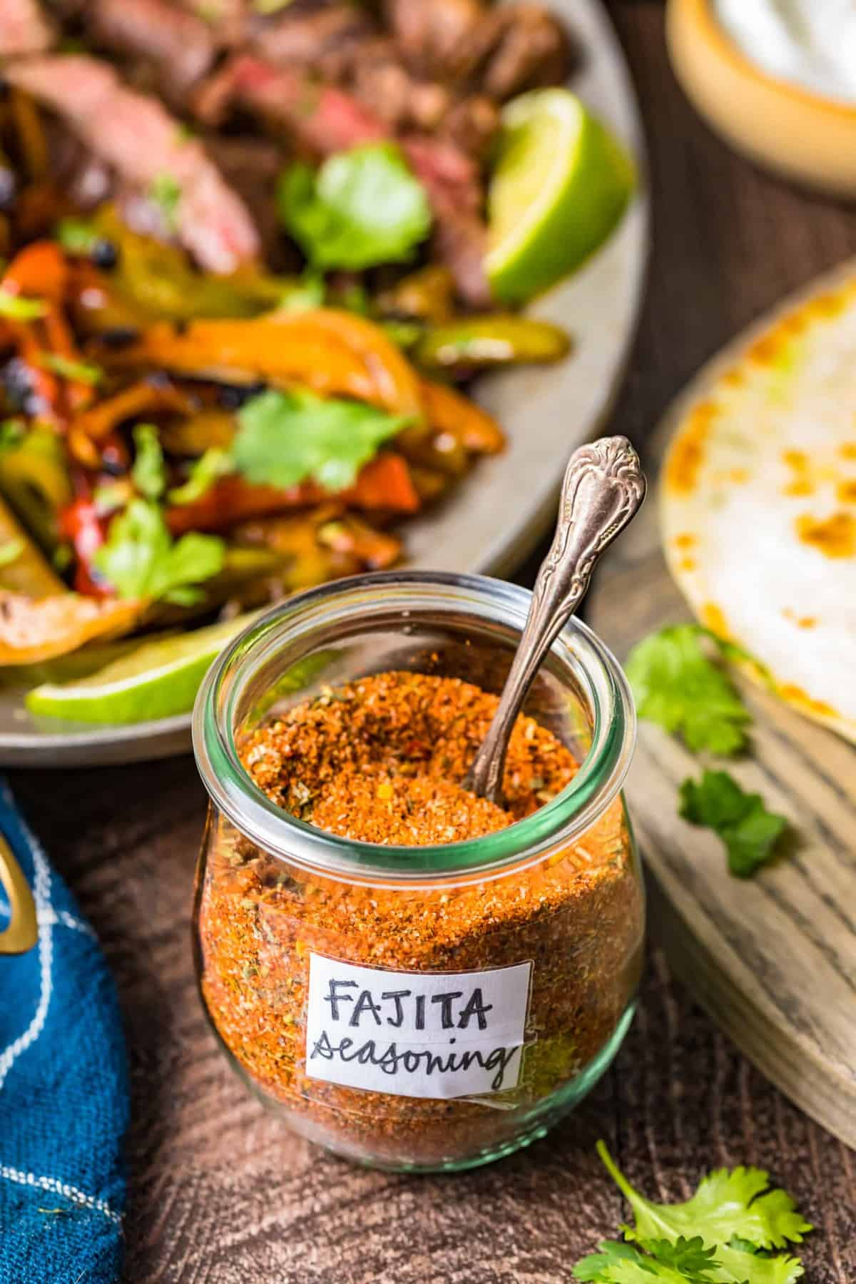 A labelled jar of homemade fajita seasoning