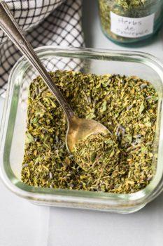 homemade herbs de provence in a bowl