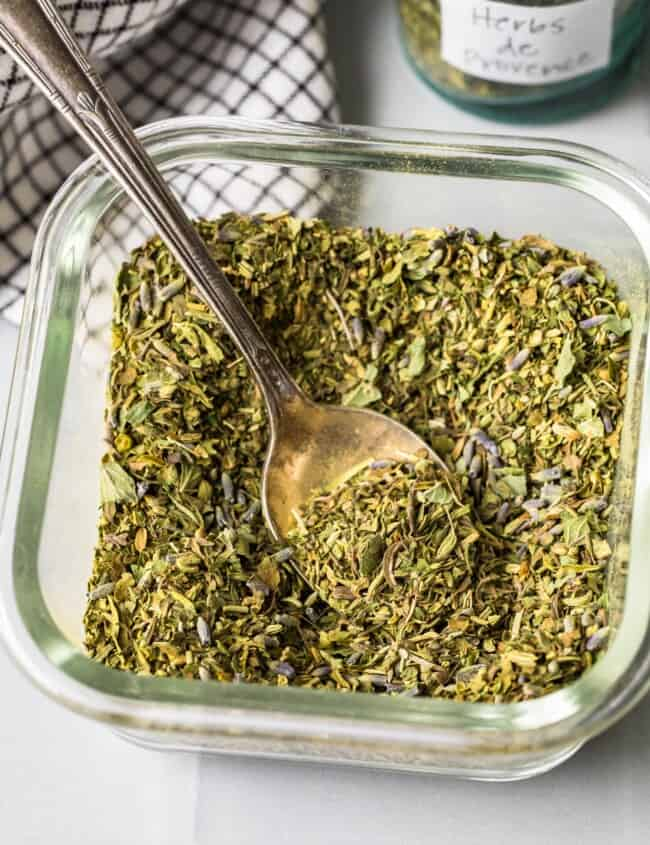 homemade herbs de provence in a bowl