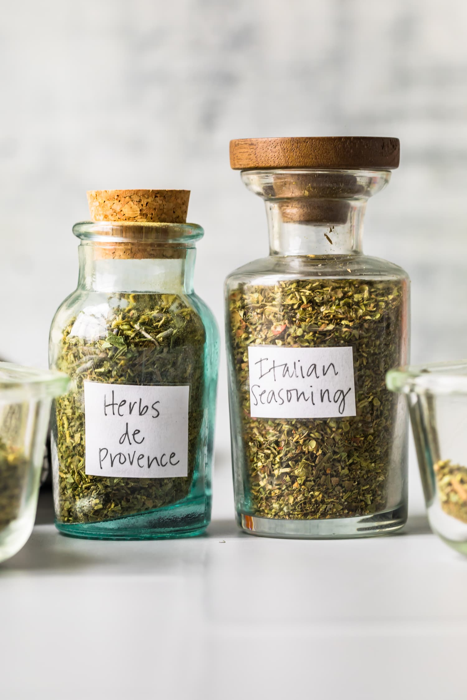 Two jars of herb mixes