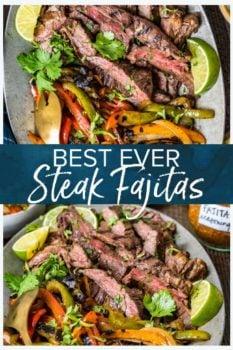 Best Ever Steak Fajitas- Pinterest collage