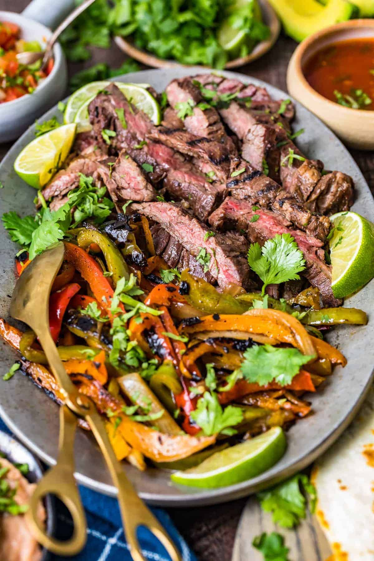 Steak fajitas ready to serve