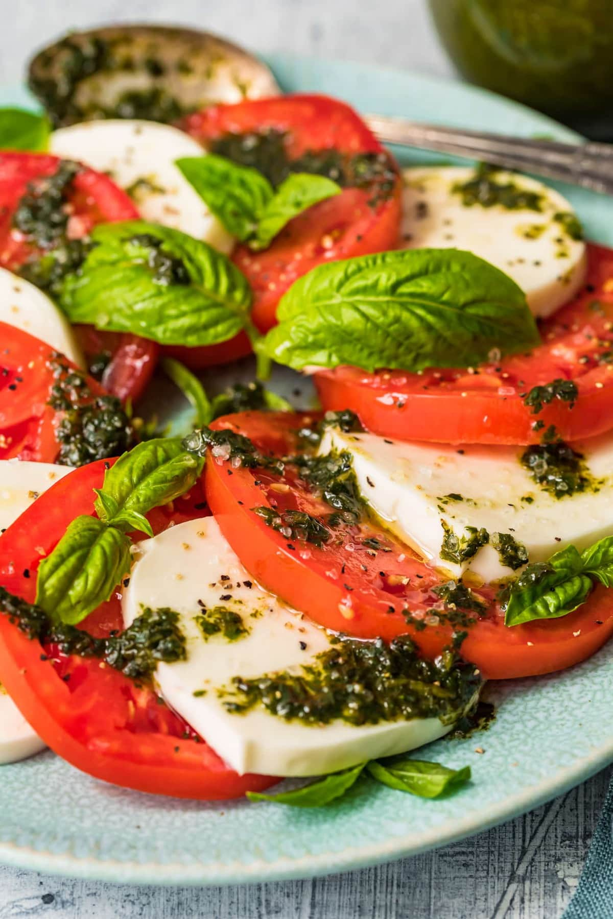 Close up of a caprese salad