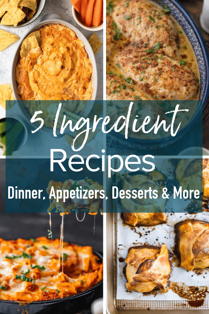 photo collage with text overlay: 5 ingredient recipes