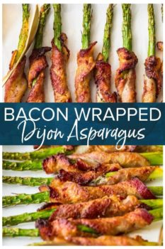 bacon wrapped asparagus with dijon pinterest collage