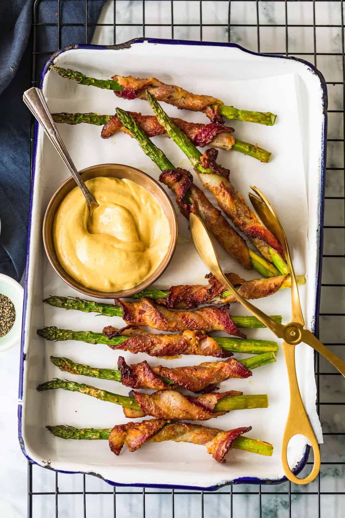 Bacon Wrapped Asparagus served with dijon