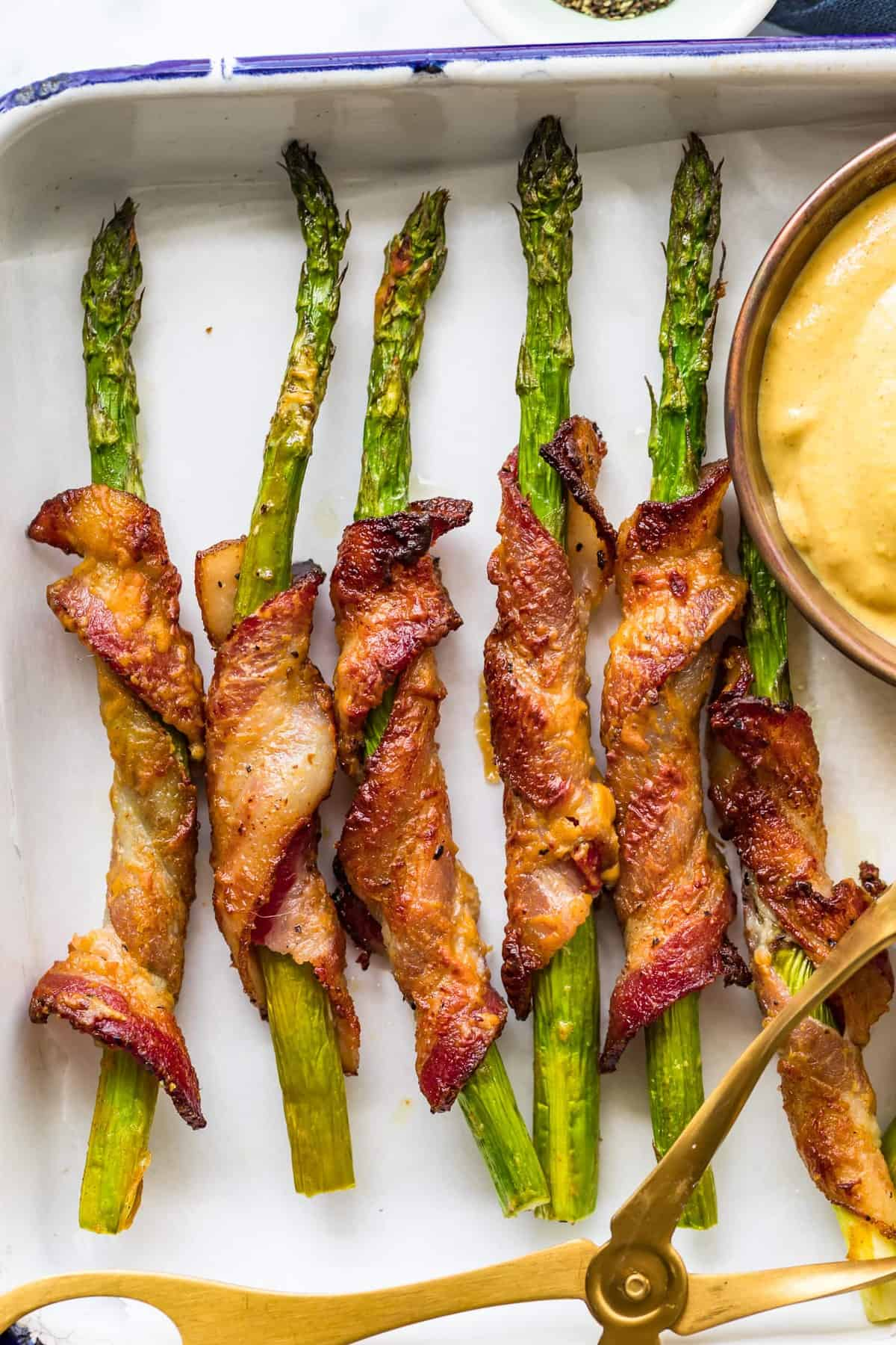 Close up of Bacon Wrapped Asparagus