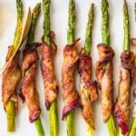 bacon wrapped asparagus with dijon on platter