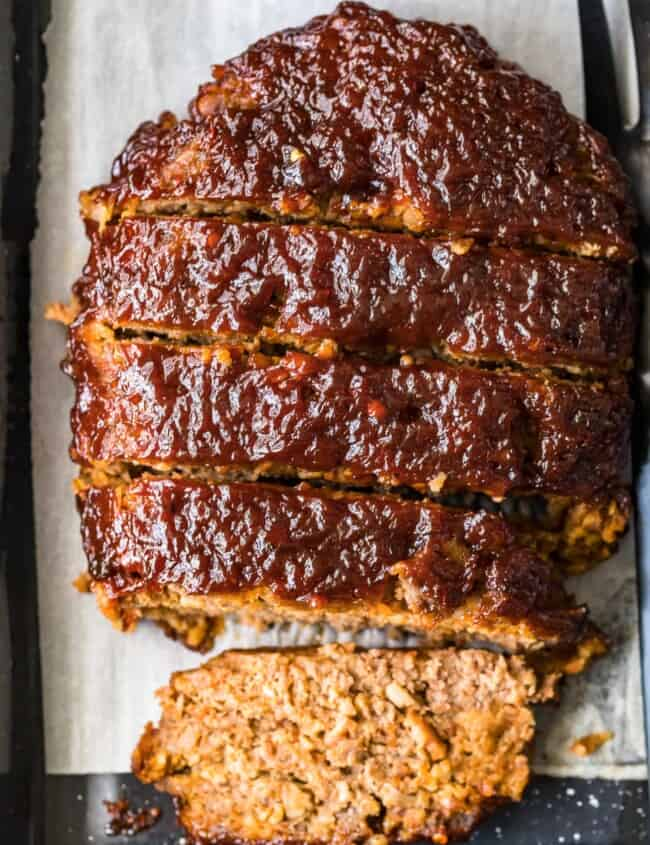 bacon meatloaf sliced on parchment