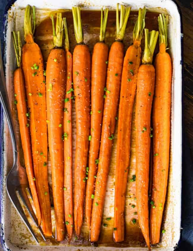carrots in white baking dish