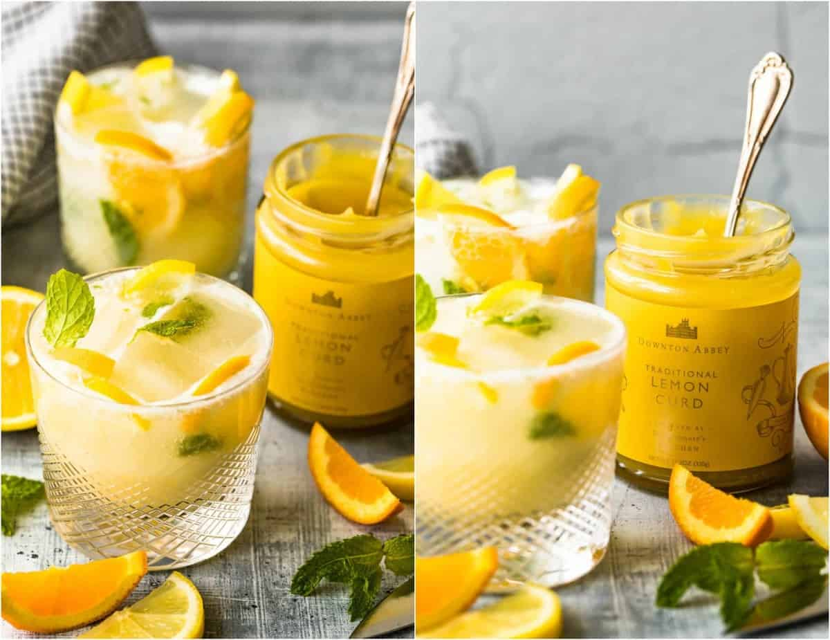 lemon curd jam and cocktails on a table