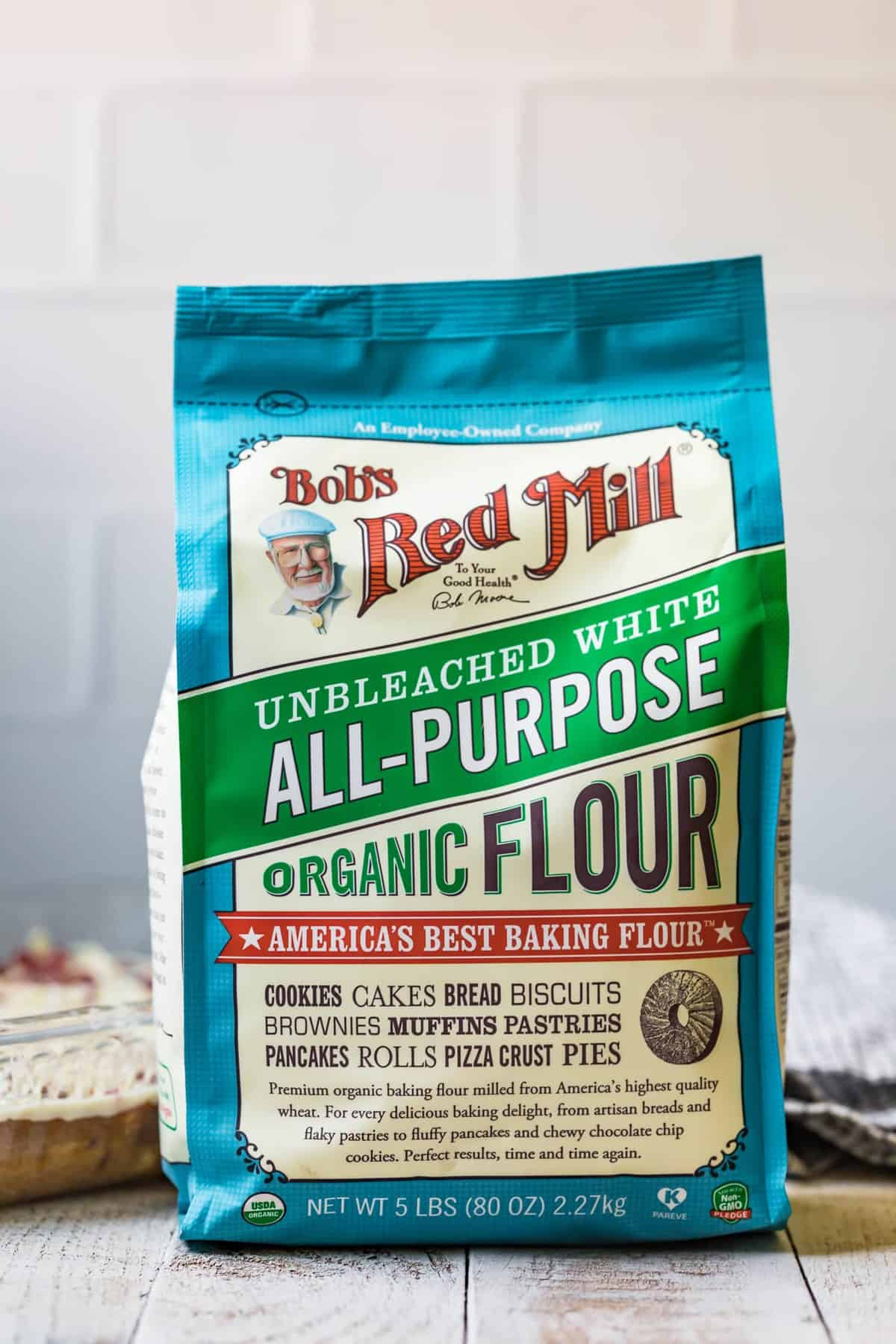 Bob's red mill unbleached white all purpose organic flour bag