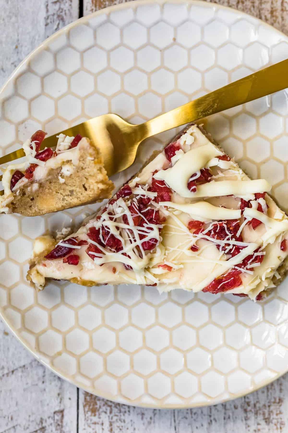 fork stabling cranberry bliss bar