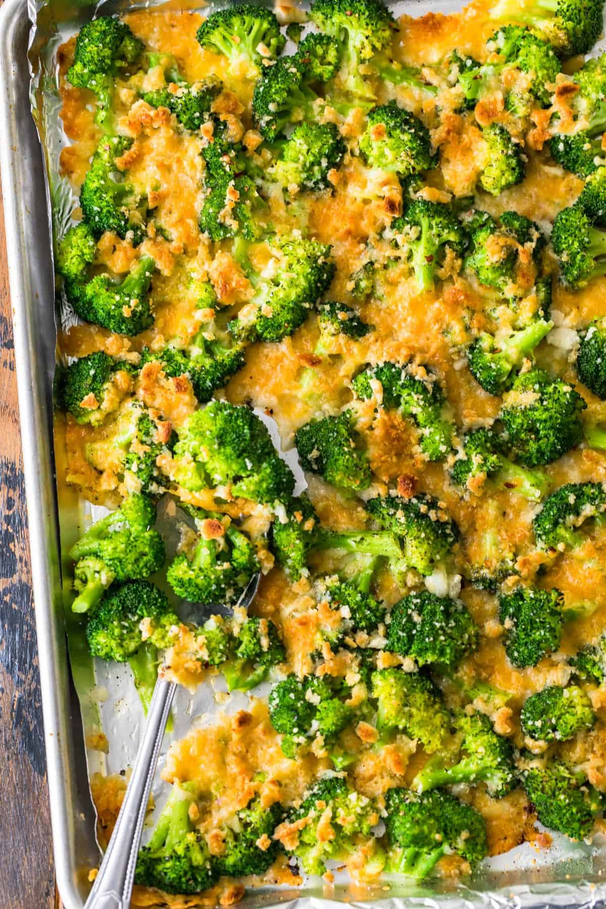 Cheesy Roasted Broccoli on a sheet pan