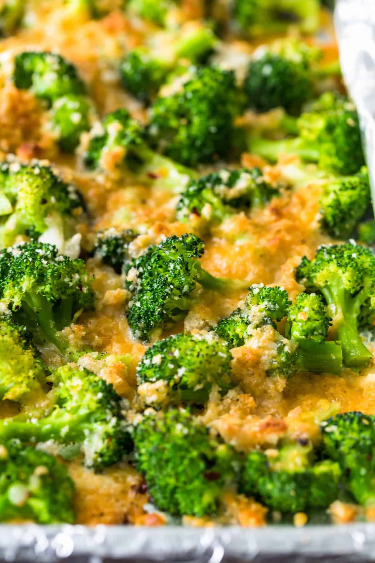 Close up of the cooked broccoli