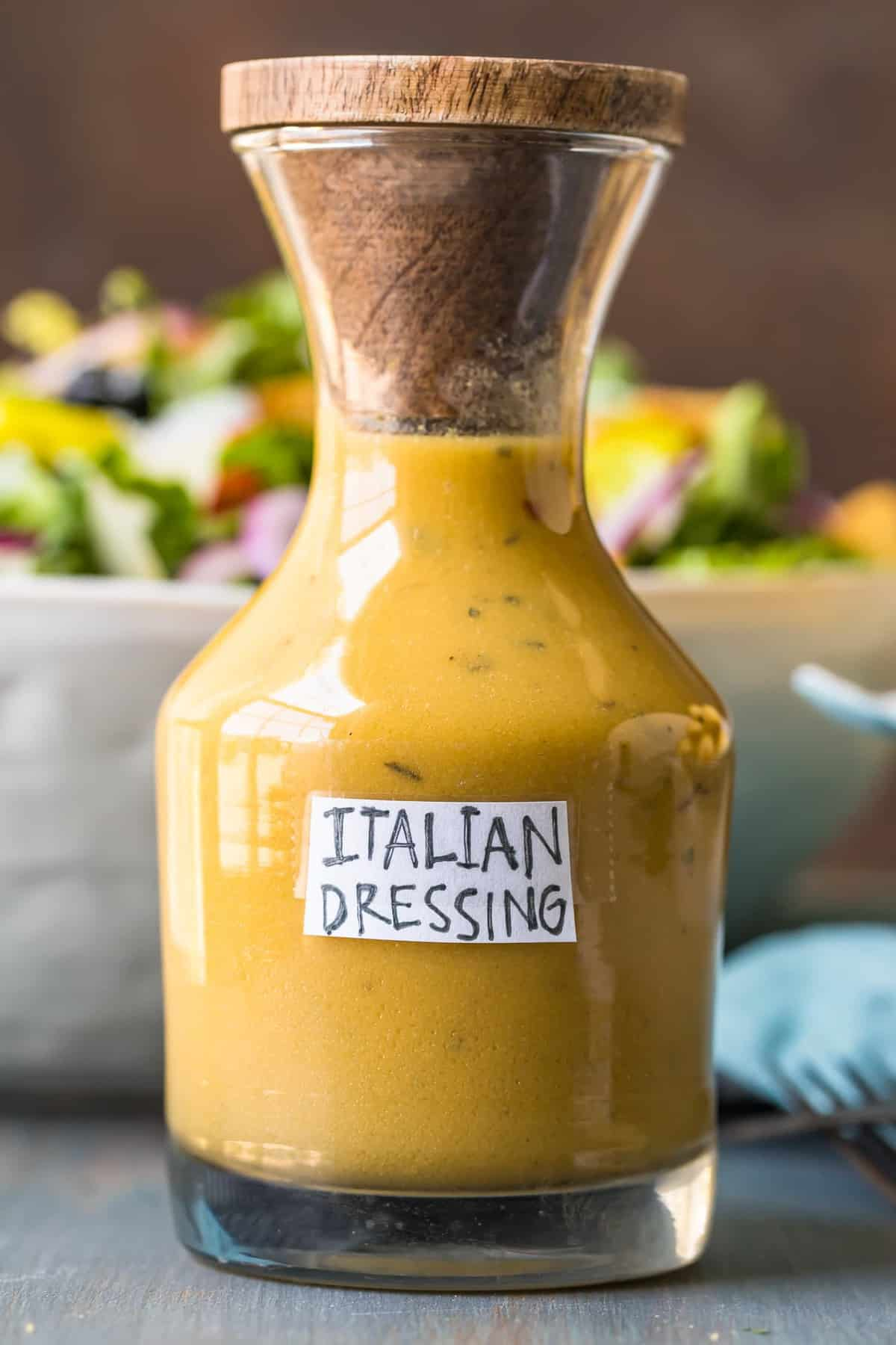 Italian dressing in a glass bottle