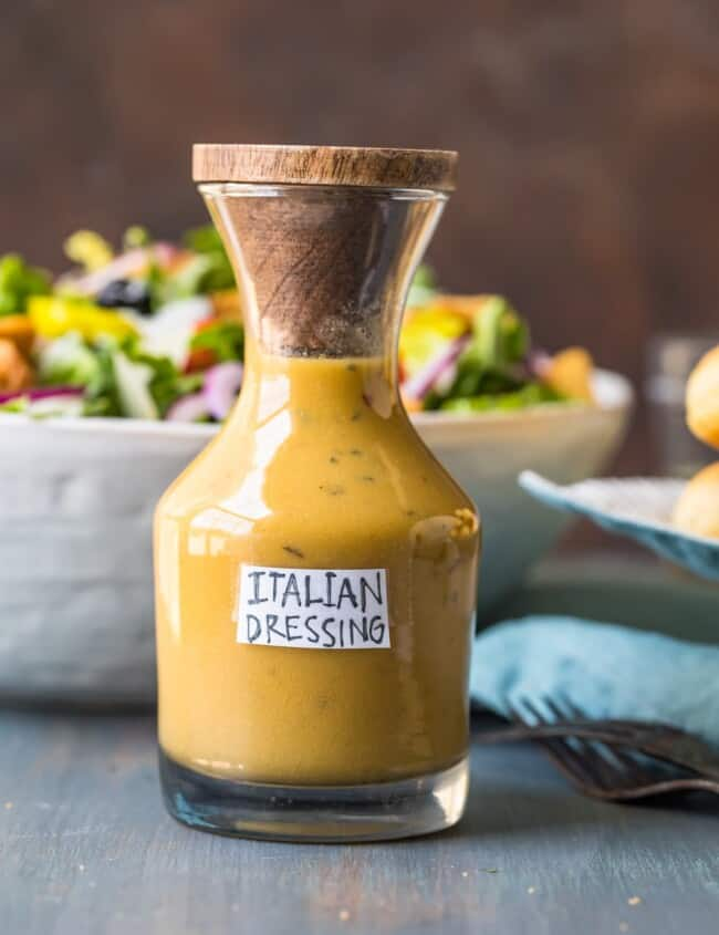 a bottle of italian dressing on a table
