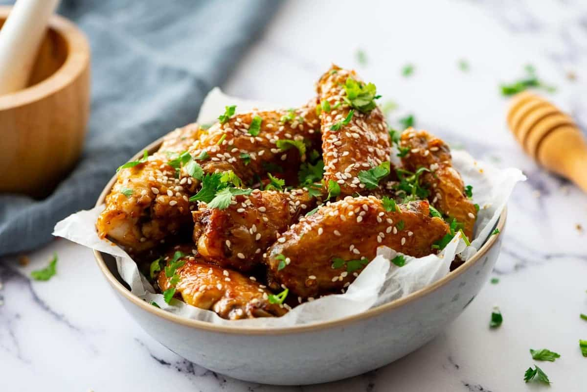 Honey Glazed Chicken Wings in a small bowl