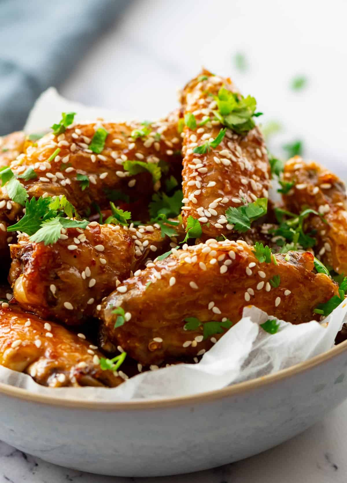 Close up of the sticky wings in a bowl