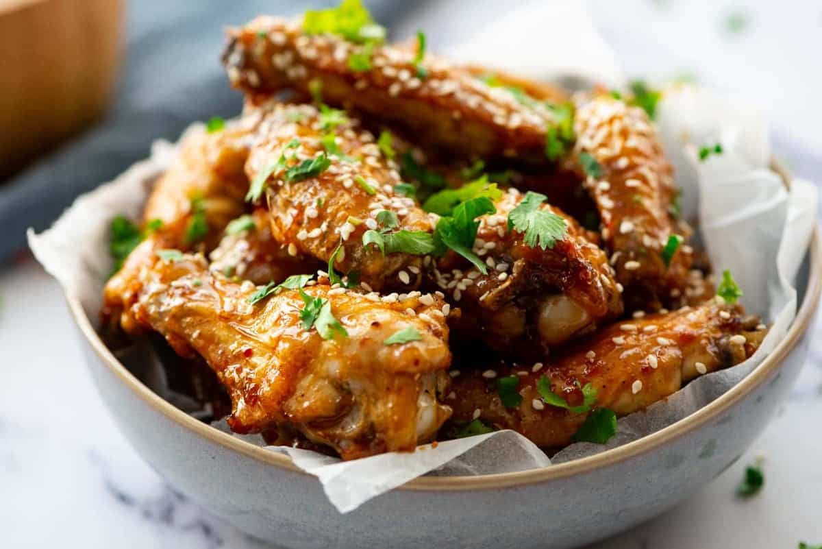 Honey Glazed Chicken Wings served in a bowl