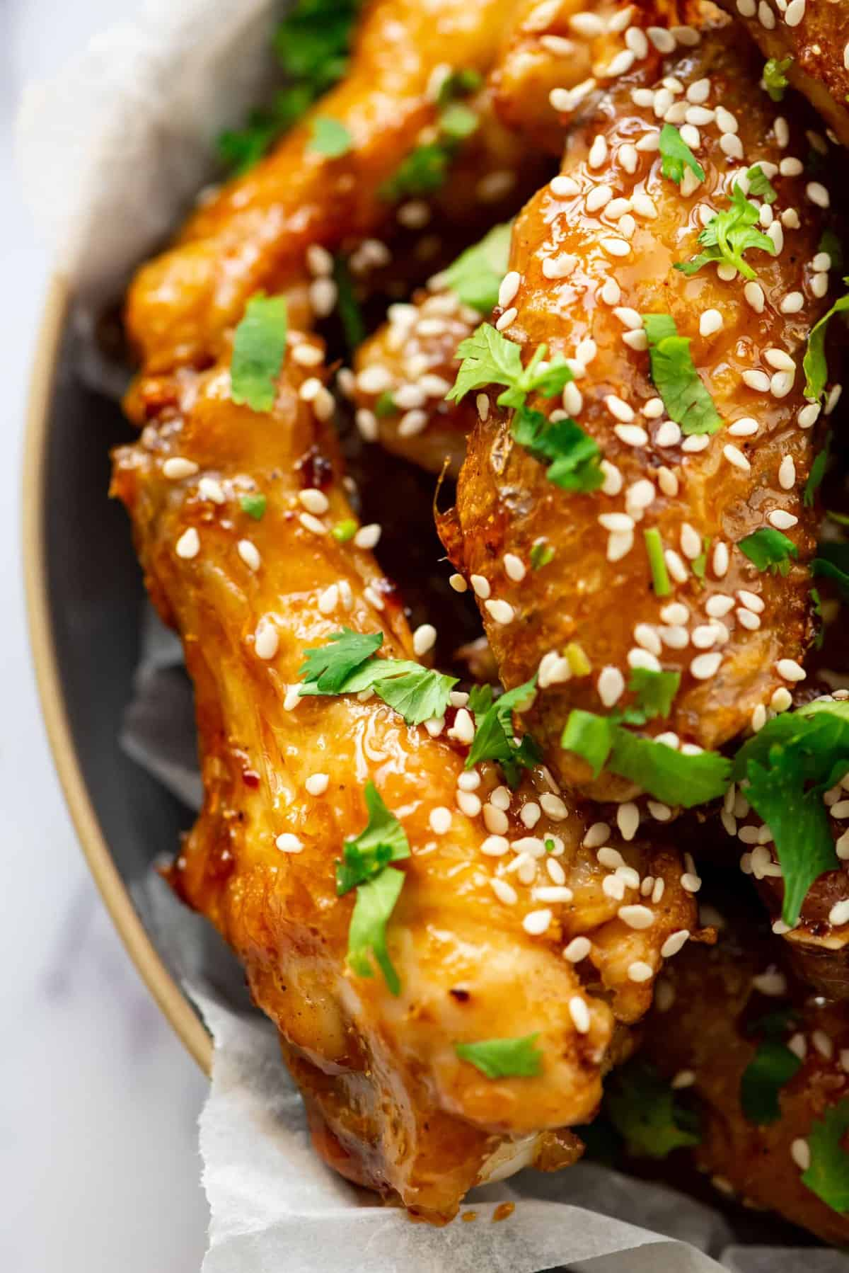 Close up of Honey Glazed Chicken Wings