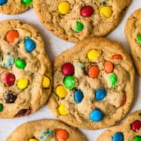 top shot of several freshly baked m&m cookies