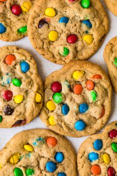 top shot of several freshly baked m&m cookies