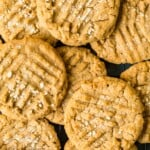 over the top shoot of delicious peanut butter cookies