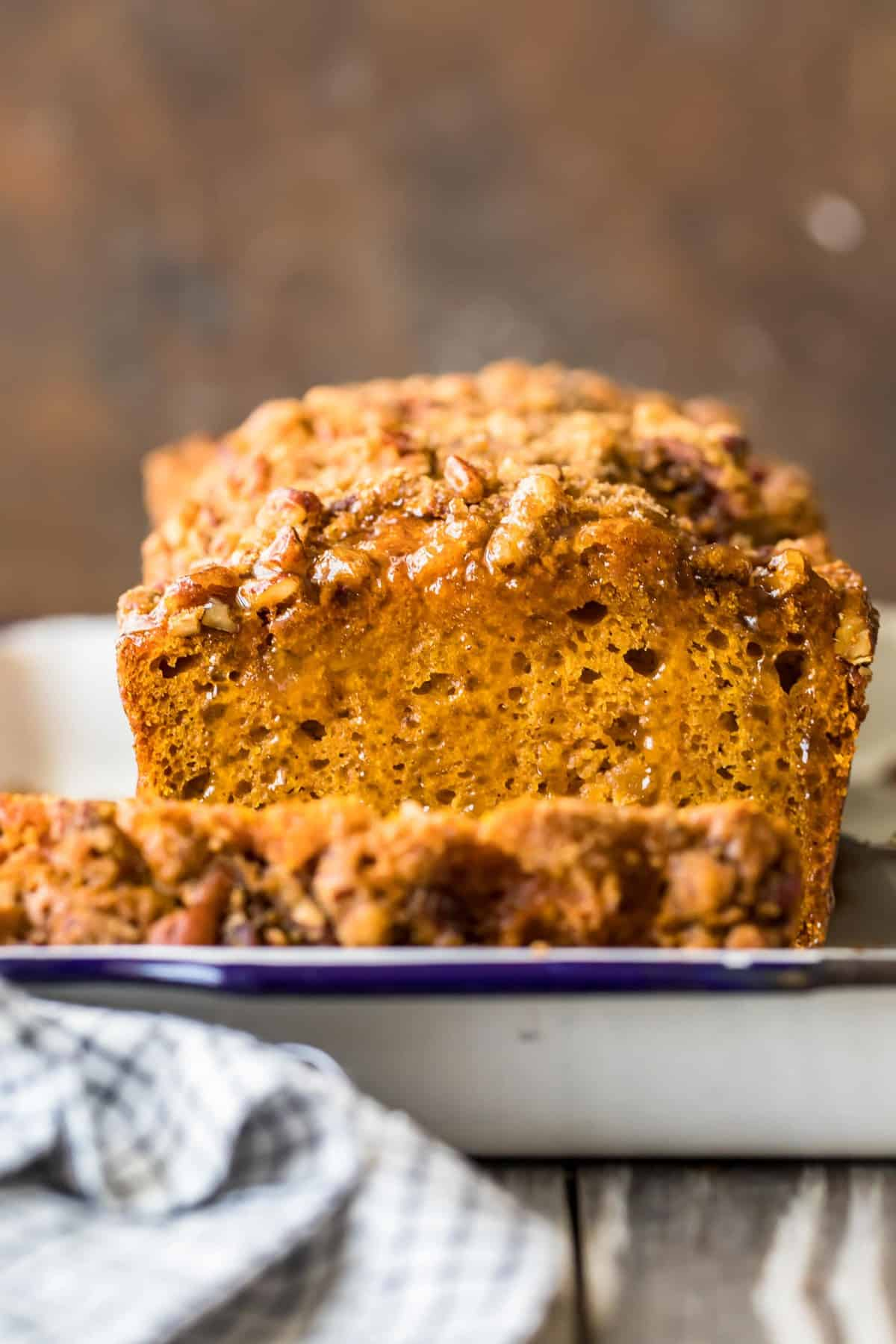 Oatmeal Pumpkin Bread with the end sliced off