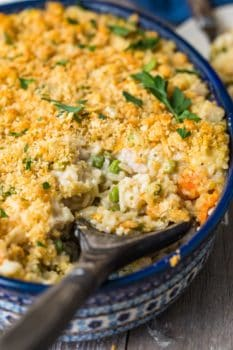 turkey and rice casserole in a dish with spoon