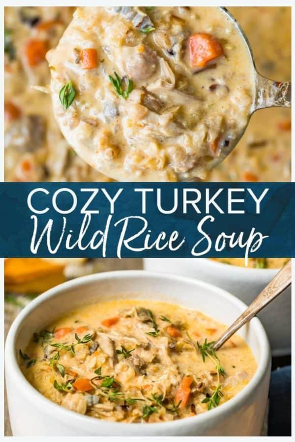 turkey wild rice soup pinterest collage