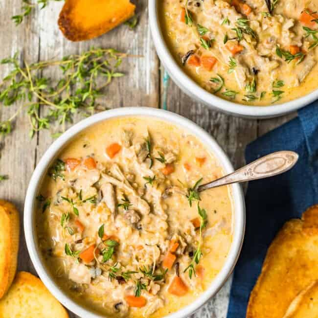 turkey wild rice soup in bowls